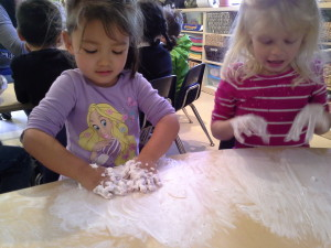 2 girls playing with shaving cream